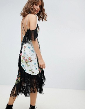 photo Fringe Cami Midi Dress in Mixed Floral Print by ASOS DESIGN, color Floral Print - Image 2