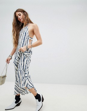 photo Racer Cami Maxi Dress in Watercolour Stripe by En Creme, color Black White Stripe - Image 1