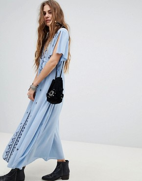 photo Plunge Front Maxi Dress with Embroidery by En Creme, color Sky - Image 1