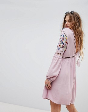 photo Long Sleeve Dress with Ladder Inserts and Floral Embroidery by En Creme, color Lilac - Image 2