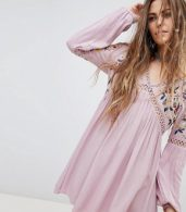 photo Long Sleeve Dress with Ladder Inserts and Floral Embroidery by En Creme, color Lilac - Image 1