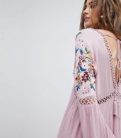 photo Long Sleeve Dress with Ladder Inserts and Floral Embroidery by En Creme, color Lilac - Image 3