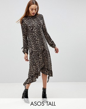 photo Soft Trapeze Midi Dress with Pep Hem in Leopard Print by ASOS TALL, color Animal - Image 1
