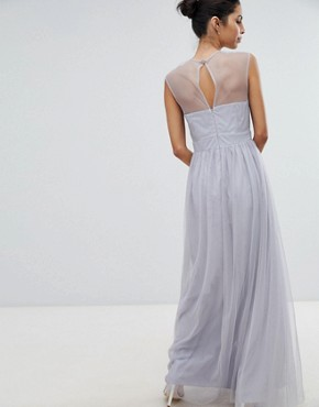 photo Tulle Maxi Dress with Embellished Pearl Detail by Little Mistress, color Blue - Image 2