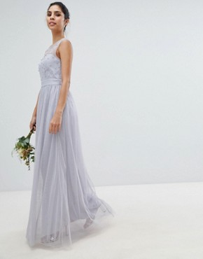 photo Tulle Maxi Dress with Embellished Pearl Detail by Little Mistress, color Blue - Image 1