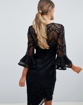 photo Lace Pencil Dress with Frill Sleeves by Little Mistress, color Black - Image 2