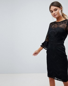 photo Lace Pencil Dress with Frill Sleeves by Little Mistress, color Black - Image 1