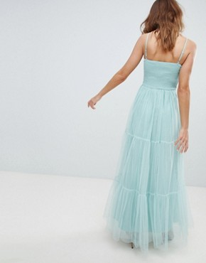 photo Tulle Maxi Dress with Satin Belt by Little Mistress, color Sage - Image 2