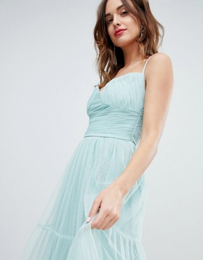 photo Tulle Maxi Dress with Satin Belt by Little Mistress, color Sage - Image 3