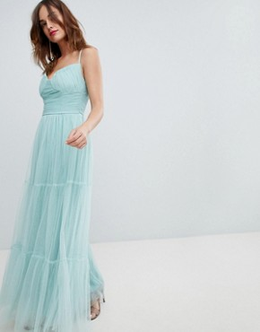 photo Tulle Maxi Dress with Satin Belt by Little Mistress, color Sage - Image 4
