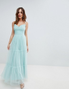 photo Tulle Maxi Dress with Satin Belt by Little Mistress, color Sage - Image 1