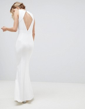 photo Racer Neck Maxi Dress with Embellished Detail and Open Back by Little Mistress, color White - Image 2