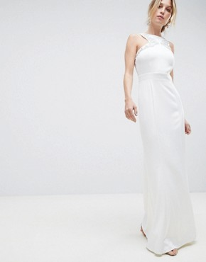 photo Racer Neck Maxi Dress with Embellished Detail and Open Back by Little Mistress, color White - Image 1