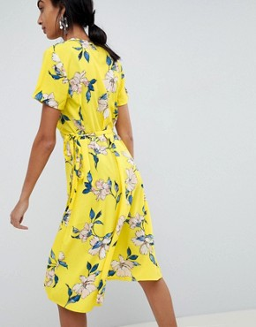photo Printed Wrap Dress by b.Young, color Yellow - Image 2
