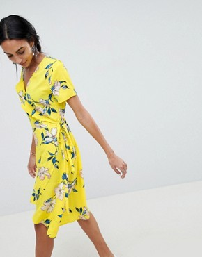 photo Printed Wrap Dress by b.Young, color Yellow - Image 1
