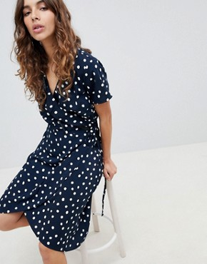 photo Printed Wrap Dress by b.Young, color Navy - Image 1