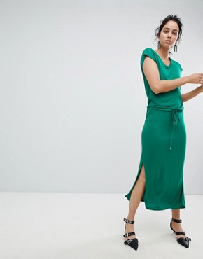 photo Waist Tie Dress by b.Young, color Verdant - Image 1