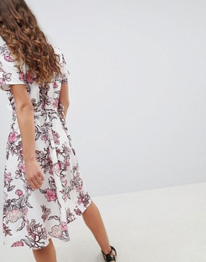 photo Floral Printed Wrap Dress by b.Young, color Pink Print - Image 2