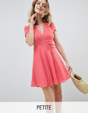 photo Mini Tea Dress with Tie Waist in Ditsy Rose by Glamorous Petite, color Coral Rose Bud - Image 1