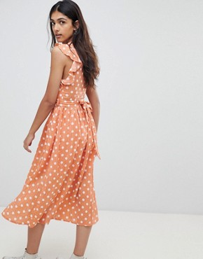 photo Sleeveless Midi Dress with Flutter Sleeves in Polka Dot by Glamorous Tall, color Dusty Peach Dot - Image 2