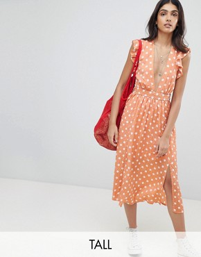 photo Sleeveless Midi Dress with Flutter Sleeves in Polka Dot by Glamorous Tall, color Dusty Peach Dot - Image 1