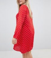 photo Long Sleeve Swing Dress in Polka Dot by Glamorous Curve, color Red Polka Dot - Image 2