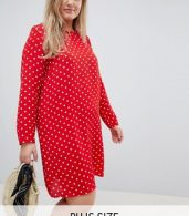 photo Long Sleeve Swing Dress in Polka Dot by Glamorous Curve, color Red Polka Dot - Image 1