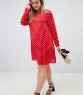 photo Long Sleeve Swing Dress in Polka Dot by Glamorous Curve, color Red Polka Dot - Image 4