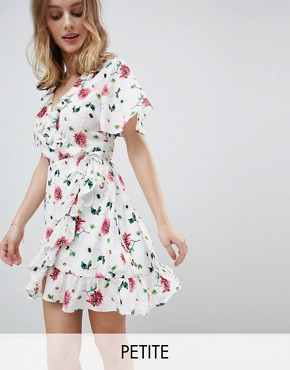 photo Mini Wrap Dress with Ruffle Hem and Tie Waist in Ditsy Floral by Glamorous Petite, color Soft Rose Floral - Image 1