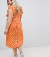 photo Sleeveless Midi Dress with Flutter Sleeves in Polka Dot by Glamorous Curve, color Dusty Peach Dot - Image 2