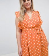 photo Sleeveless Midi Dress with Flutter Sleeves in Polka Dot by Glamorous Curve, color Dusty Peach Dot - Image 3