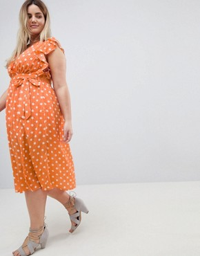 photo Sleeveless Midi Dress with Flutter Sleeves in Polka Dot by Glamorous Curve, color Dusty Peach Dot - Image 4