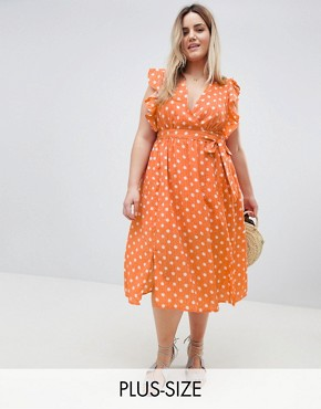 photo Sleeveless Midi Dress with Flutter Sleeves in Polka Dot by Glamorous Curve, color Dusty Peach Dot - Image 1