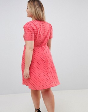photo Mini Tea Dress with Tie Waist in Ditsy Rose by Glamorous Curve, color Coral Rose Bud - Image 2