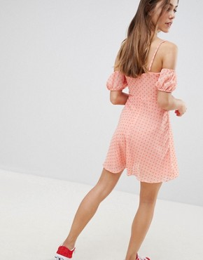 photo Off Shoulder Mini Dress with Sweetheart Neckline in Polka Dot by Glamorous Petite, color Light Orange Hearts - Image 2