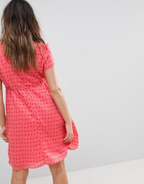 photo Mini Tea Dress with Tie Waist in Ditsy Rose by Glamorous Bloom, color Coral Rose Bud - Image 2