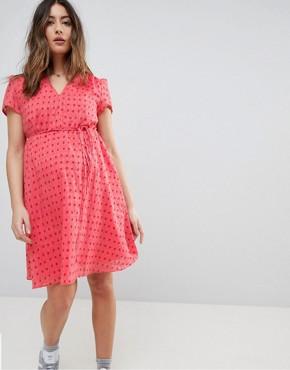 photo Mini Tea Dress with Tie Waist in Ditsy Rose by Glamorous Bloom, color Coral Rose Bud - Image 1