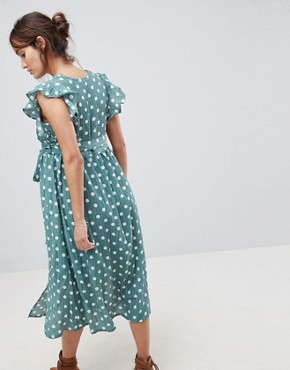 photo Sleeveless Midi Dress with Flutter Sleeves in Polka Dot by Glamorous Bloom, color Green Polka Dot - Image 2