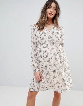 photo Mini Wrap Dress with Tie Waist in Floral by Glamorous Bloom, color Blush Floral Bunch - Image 1