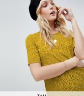photo Shift Dress in Ditsy Floral by Glamorous Tall, color Mustard Navy Ditsy - Image 1