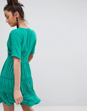 photo Soft Mini Dress with Tiers by ASOS TALL, color Emerald - Image 2