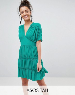 photo Soft Mini Dress with Tiers by ASOS TALL, color Emerald - Image 1