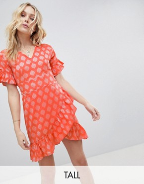 photo Mini Dress with Asymmetrical Frill Hem and Tie Waist in Jacquard by Glamorous Tall, color Light Coral Damask - Image 1