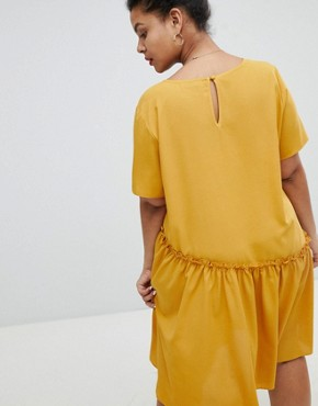 photo Smock Dress with Asymmetric Hem by Glamorous Curve, color Mustard - Image 2