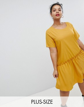 photo Smock Dress with Asymmetric Hem by Glamorous Curve, color Mustard - Image 1