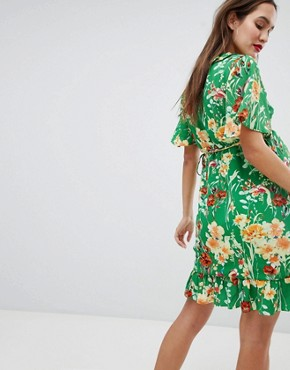 photo Wrap Front Mini Dress with Frill Hem in Floral by Glamorous Bloom, color Green Floral - Image 2