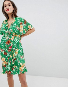 photo Wrap Front Mini Dress with Frill Hem in Floral by Glamorous Bloom, color Green Floral - Image 1