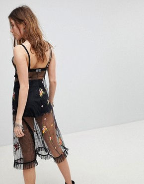 photo Mesh Cami Dress with Embroidered Flowers by Kiss the Sky, color Black - Image 2