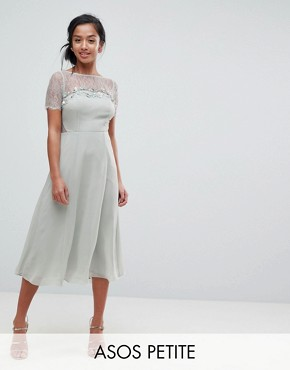 photo Lace Insert Midi Dress with Floral Embellished Trim by ASOS PETITE, color Mint - Image 1