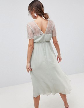 photo Lace Insert Midi Dress with Floral Embellished Trim by ASOS Maternity, color Mint - Image 2